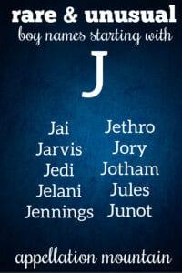 rare J names for boys