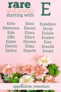 Rare Girl Names Starting with E