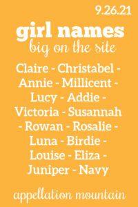 Girl Names 9.26.21