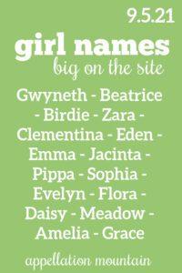 Girl Names 9.5.21